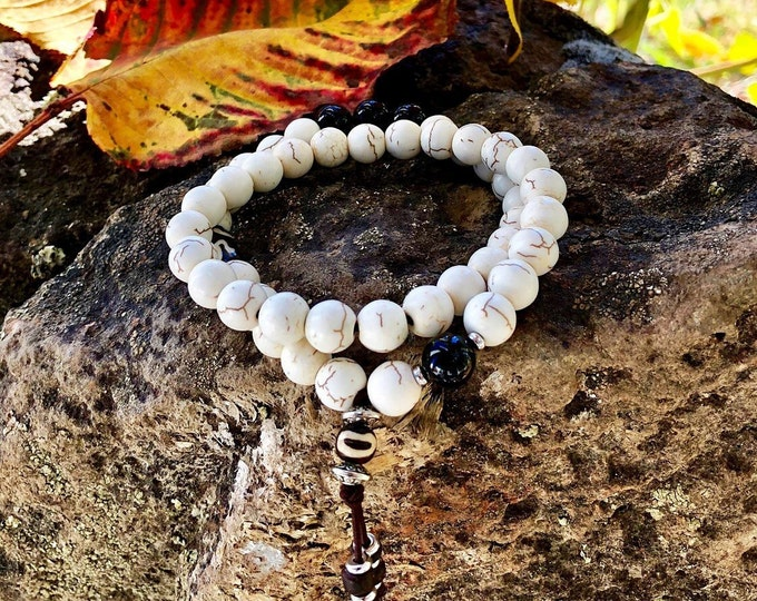 Featured listing image: Mens Bhakti Double Mala Bracelet | White Howlite | Black Onyx | Unique Mala Beads | Wrist Mala | Reiki Infused | Calms Anxiety | Cools Anger