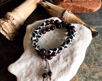 Breath of Fresh Air Double Mala Bracelet | Onyx | Brazilian Red Garnet | Dzi Agate | Luxury Mala Beads | Energizes the Body Mind & Spirit