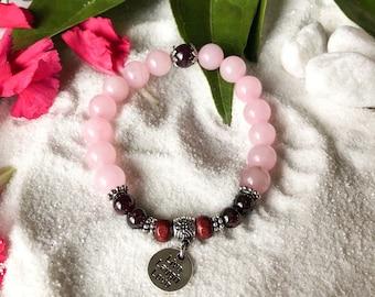 Passionate Love Mala Bracelet | Luxury Rose Quartz | Brazilian Red Garnet | Rosewood | Live Laugh Love Charm | True love | Joy | Passion