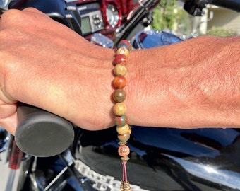 Men's Worthy Mala Bracelet   Luxury Picasso Jasper   Reiki Infused Healing Mala Beads   Purpose   Self Confidence   Attracts Friends