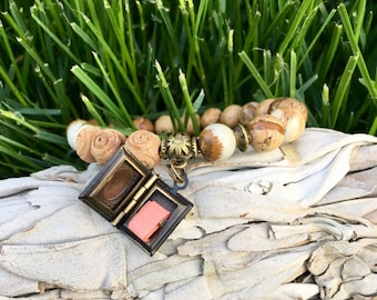 Turn the Page Mala Bracelet | Affirmation Scroll Inside | Picture Jasper | Reiki Infused Mala Beads | Book Locket | Grounding | Nurturing