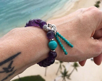 Mystic Mala Bracelet | AAA Grade Amethyst | Natural Turquoise | Yoga Jewelry | Mala Beads | Wrist Mala | Clarity | Awareness | Sleep