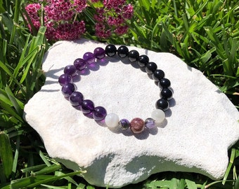 Grief Mala Bracelet | Luxury Healing Mala Beads | Obsidian | Amethyst | Tourmaline | Charoite | Moonstone | Loss | Sadness | Heart Healing