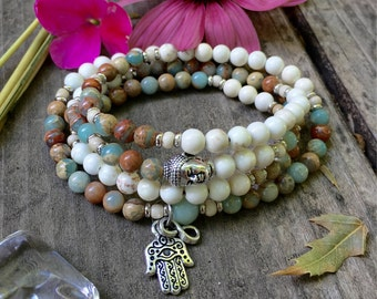 Shanti Mala | Beautiful High Quality Gemstones | Wrist or Neck Mala | Mala Beads | Aqua Terra Jasper | Magnesite | Healing | Peace | Comfort
