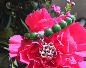 Endless Success Mala Bracelet | Mala Beads | Green Jade Gemstones | Buddhist Endless Knot Charm | Prayer Beads | Abundance