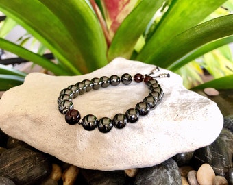 Pain Relief Mala Bracelet   High Vibrational Reiki Healing Mala Beads   Hematite   Red Garnet   Grounding   Eases Physical & Emotional Pain