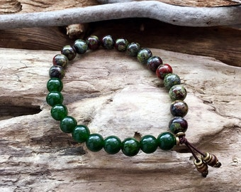 Men's Prosperity Bracelet | Green Jade | Dragon's Blood Jasper | High Vibrational | AA Grade Gemstones | Endurance | Wealth | Motivation