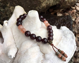 In The Flow Mala Bracelet | Luxury Natural Gemstone Mala Beads | Garnet | Sunstone | Picture Jasper | Love | Trust | Optimism | Success