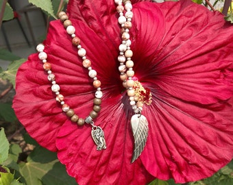 Healing Angel Mala Necklace | Mother of Pearl Wing Pendant | Brazilian Crazy Lace Agate | Healing Mala Beads | Stability | Quiet Confidence