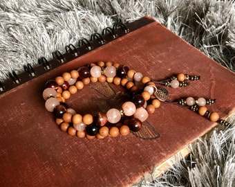 Firefly Bracelet Set   Luxury Mala Beads  Natural Sandalwood   AAA Sunstone   AAA Red Tigers Eye   Aum   Optimism    Illumination   Magic