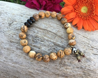 Comfort & Support Mala Bracelet | Picture Jasper | Smoky Quartz | Luxury Natural Gemstones | Bohemian Mala Beads | Healing | Comforting