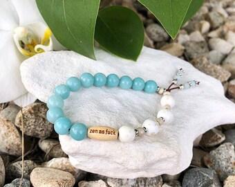 Dharma Zen as F*ck Mala Bracelet | Luxury Amazonite | White Magnesite | Healing | Serenity | Self Acceptance | Quiet Confidence