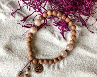 Wild Moon Mala Bracelet | Authentic Natural Sandalwood | Peach Moonstone | Om | Reiki Healing Mala Beads | Raises Vibration | Alignment