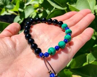 Whispering Raven Mala Bracelet | Black Tourmaline | Malachite | Lapis Lazuli | Luxury Natural Gemstone Mala Beads | Self Healing | Renewal