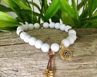 White Lotus Mala Bracelet | White Onyx Gemstones | Gold Tone Lotus | Healing Gemstone Mala Beads | Clarity | Intuition | Psychic Awareness
