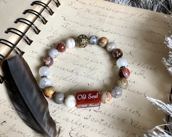NEW! Old Soul Mala Bracelet | Authentic | Laguna Lace Agate | Moonstone | Red Carnelian | Balances Chakras | Restores Trust in the Universe