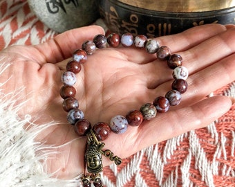 Buddha's Love Mala Bracelet | Blood Lace Agate Gemstones | Garnet Tassel | Buddha Charm | Love Charm | Happiness | Confidence | Stability
