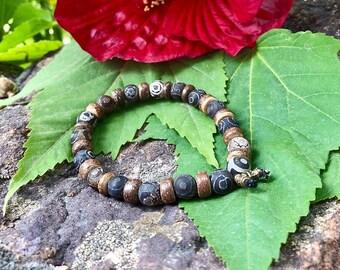 Ancient Healing Mala Bracelet   Tibetan Dzi Agate Gemstones   For Men or Women   Unique Mala Beads   Past Life Clearing   Balance   Harmony