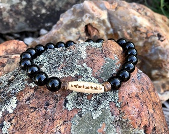 Mens Unf#ckwithable Mala Bracelet | Mens Wrist Mala | Mala Beads | Yoga | Meditation | Black Onyx | High Grade Gems | Confidence | Strength
