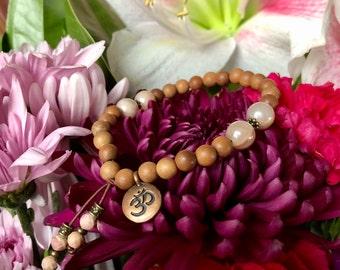 Wild Moon Mala Bracelet | Authentic Natural Sandalwood | Peach Moonstone | Om | Reiki Healing Mala Beads | Raises Vibration | Alignment