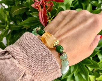 NEW! Manifest Mala Bracelet | Luxury Gemstones | Rare Green Rutilated Quartz | Citrine | Adventurine | Jade | Green Moonstone | Smoky Quartz