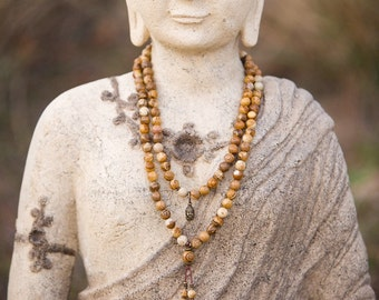 Comfort Mala Necklace | Picture Jasper | Traditional 108 Beads | Yoga | Meditation | Reiki Energy Healing | Calming | Nurturing | Balance