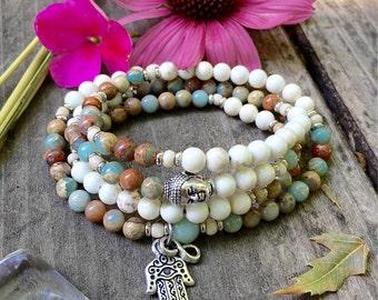 Shanti Mala | Beautiful AAA Aqua Terra Jasper | Wrist or Neck Mala | Luxury Mala Beads | Magnesite | Healing | Peace | Comfort | Eases Loss