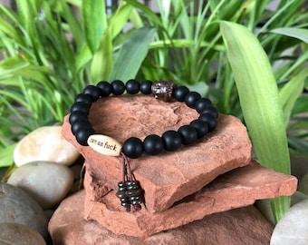 Men's Onyx Zen as F#ck Mala Bracelet | Frosted Black Onyx | Wrist Mala | Reiki Mala Beads | Eases Worry | Builds Strength | Protection