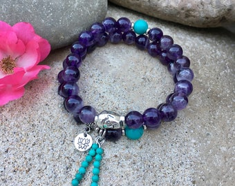 Mystic Stack | Set of TWO Mala Bracelets | AAA Amethyst | AAA Turquoise | Lotus | Buddha | Yoga Beads | Reiki | Focus | Clarity | Sleep