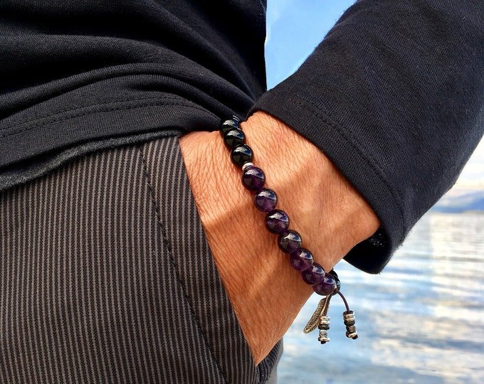 Featured listing image: Men's Recovery Mala Bracelet | AAA Luxury Grade Natural Gems | Amethyst | Black Onyx | Wrist Mala | Protection | Strength | Rest