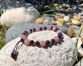 NEW! Ecstatic Love Mala Bracelet | Madagascar Rose Quartz | Brazilian Red Garnet | Rainbow Tourmaline | AAA Gemstones | Passion | Euphoria