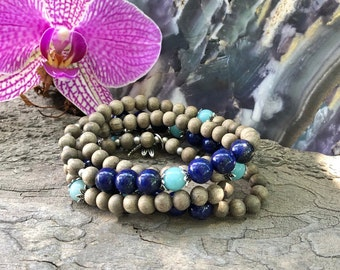NEW! Time For Change Wrap Mala Bracelet | Amazonite | Lapis Lazuli | Natural Gemstones | Gray Wood | Tuning Into Your True Self | Confidence