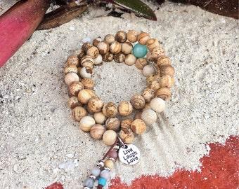 Sandy Beach Triple Wrap Mala Bracelet | Matte Picture Jasper | AAA Amazonite | Gemstone Mala Beads | Reiki Healing | Comfort | Tranquility
