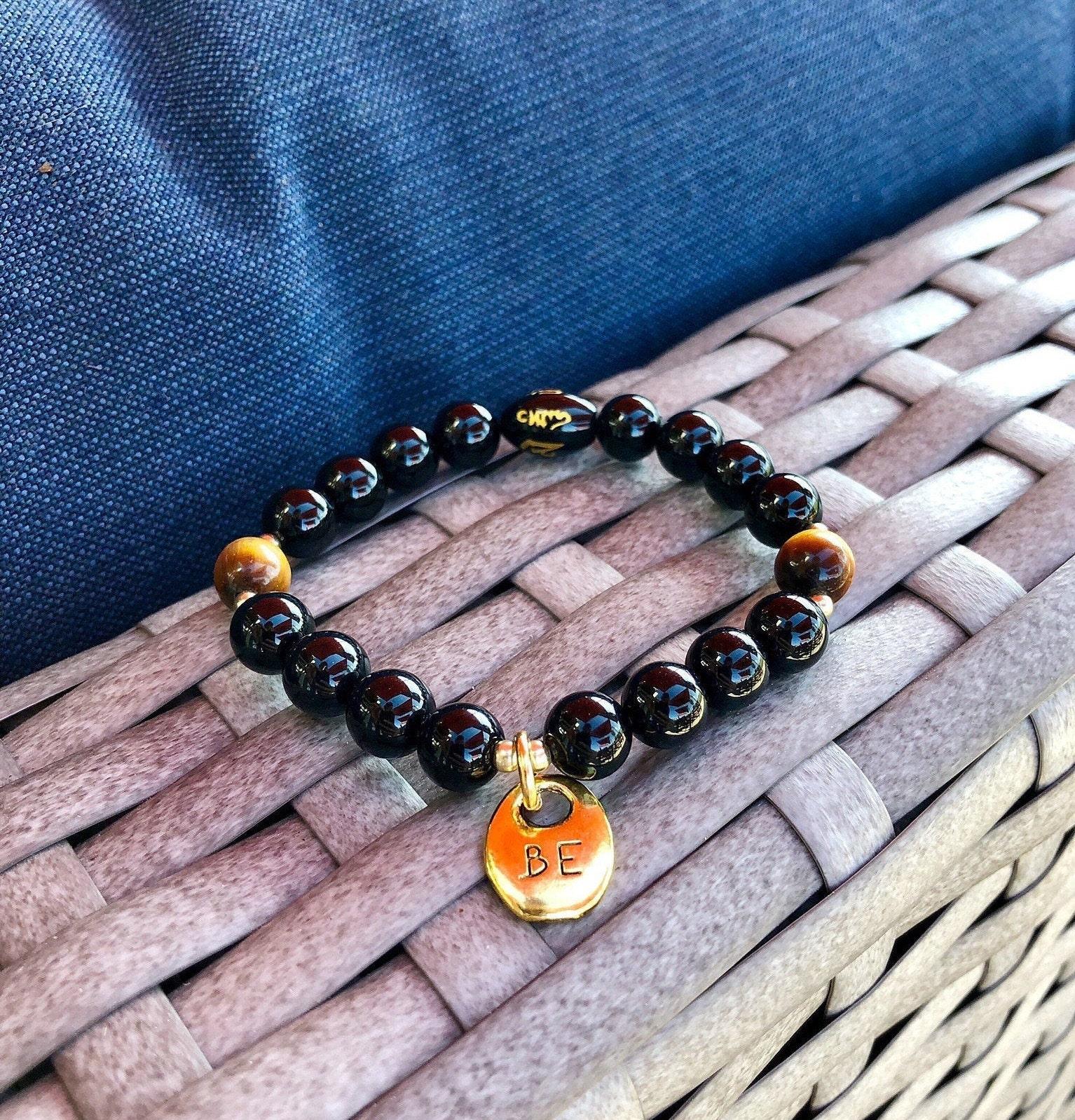 Reiki Infused Personal Power Willpower Mala Bracelet Tigers Eye Confidence Luxury Gemstone Mala Beads Black Tourmaline