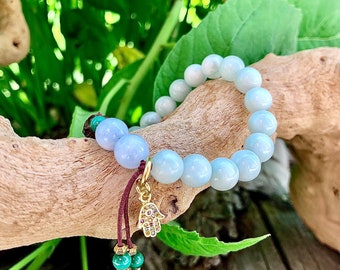 Illuminate Mala Bracelet | Soft Green Moonstone | Aquamarine | Malachite | Buddha | CZ Hamsa | New Beginnings | Opens Intuitive Channels