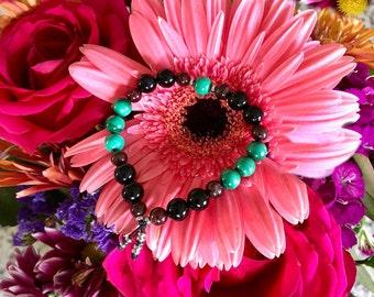 Paradise Mala Bracelet | NATURAL Malachite | Garnet | Onyx | AAA Gemstone Mala Beads | Reiki Healing | Transformation | Increased Energy