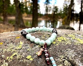 NEW! Goddess Mala Bracelet | Luscious Green Moonstone | Brazilian Red Garnet | Amazonite | Shamanic Reiki | Sacred Primordial Feminine Power