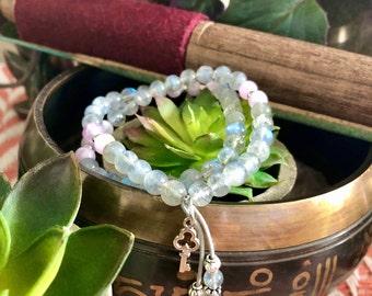 Key to the Future Mala Bracelet | Labradorite | Kunzite | Luxury Gemstone Mala Beads | Strong Protection | Clears Trauma | Worth | Purpose