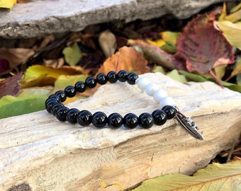 Men's Ancient Old Soul Mala Bracelet | Black Obsidian | White Magnesite | Healing Mala Beads | Protection | Peace | Growth | Expansion