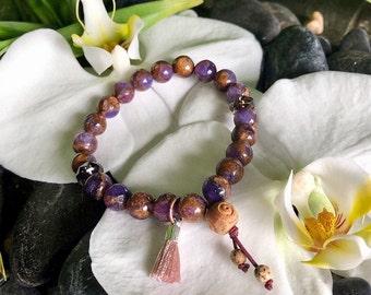 Cosmic Healer Mala Bracelet | Lavender Opal w/ Bronzite Marbled Quartz | Smoky Quartz | Unique Mala Beads | Purpose | Conscious Awareness