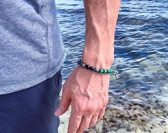 Men's Pure Possibility Mala Bracelet | AAA Natural Malachite | Snowflake Obsidian | Luxury  Mala Beads | Abundance | Energy | Transformation