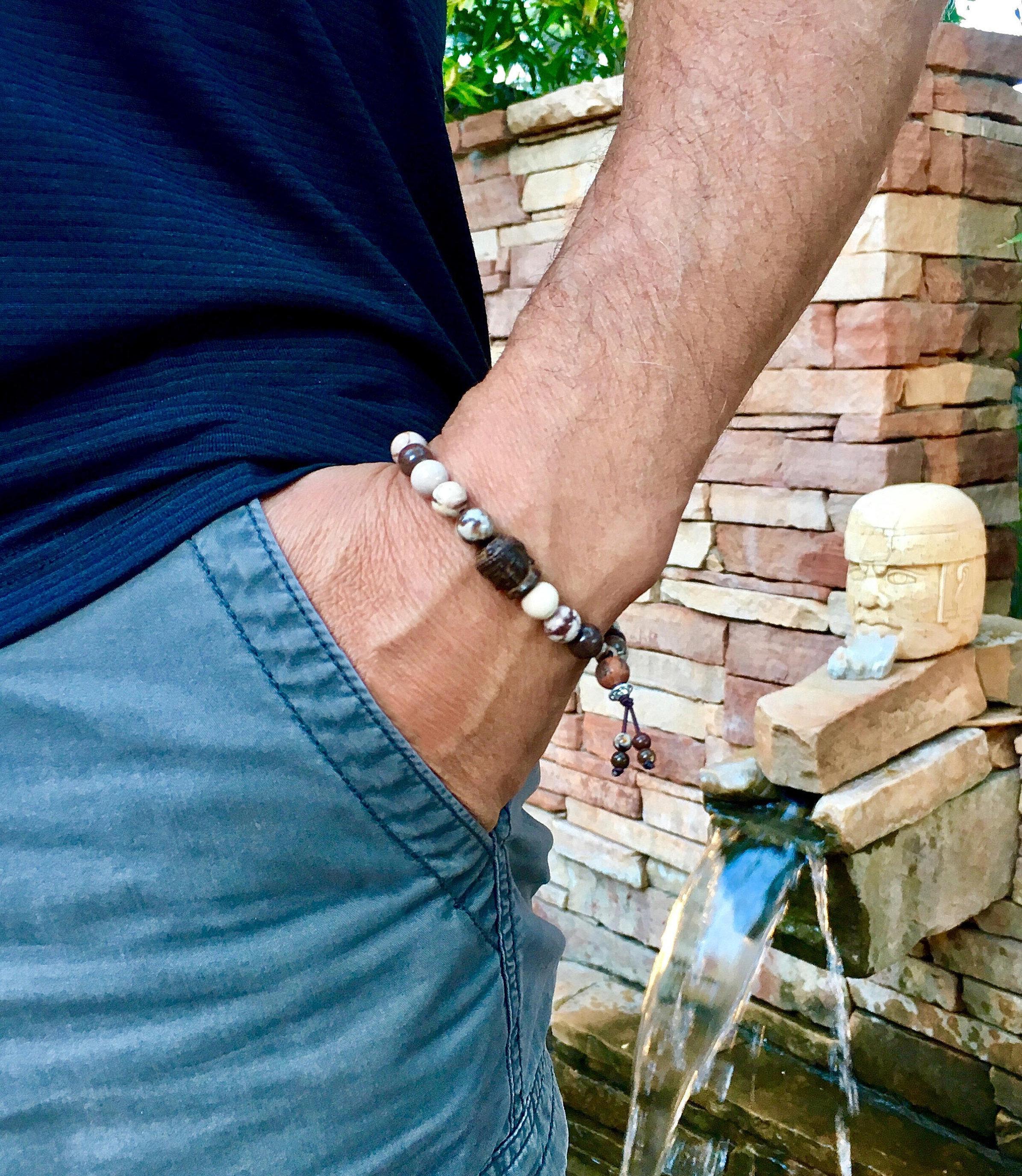Gem Series 4018 With Zebrawood From: Men's Health & Balance Mala Bracelet