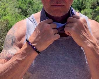 Men's Health & Strength Mala Bracelet | AAA Black Onyx | AAA Purple Amethyst | AAA Red Garnet | Reiki Healing Mala Beads | Alleviates Worry