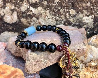 Universal Guidance Mala Bracelet | Exotic Obsidian Crystals | Brazilian Red Garnet | Aquamarine | Direction | True Purpose | Protection