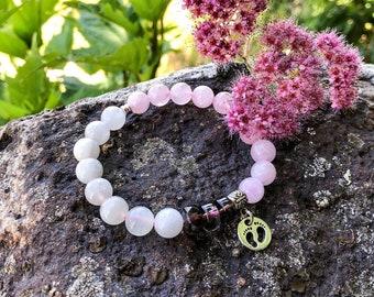 New Mother / Fertility Mala Bracelet | Luxury Mala Beads | Madagascar Rose Quartz | Moonstone | Smoky Quartz | Conception | Parenting