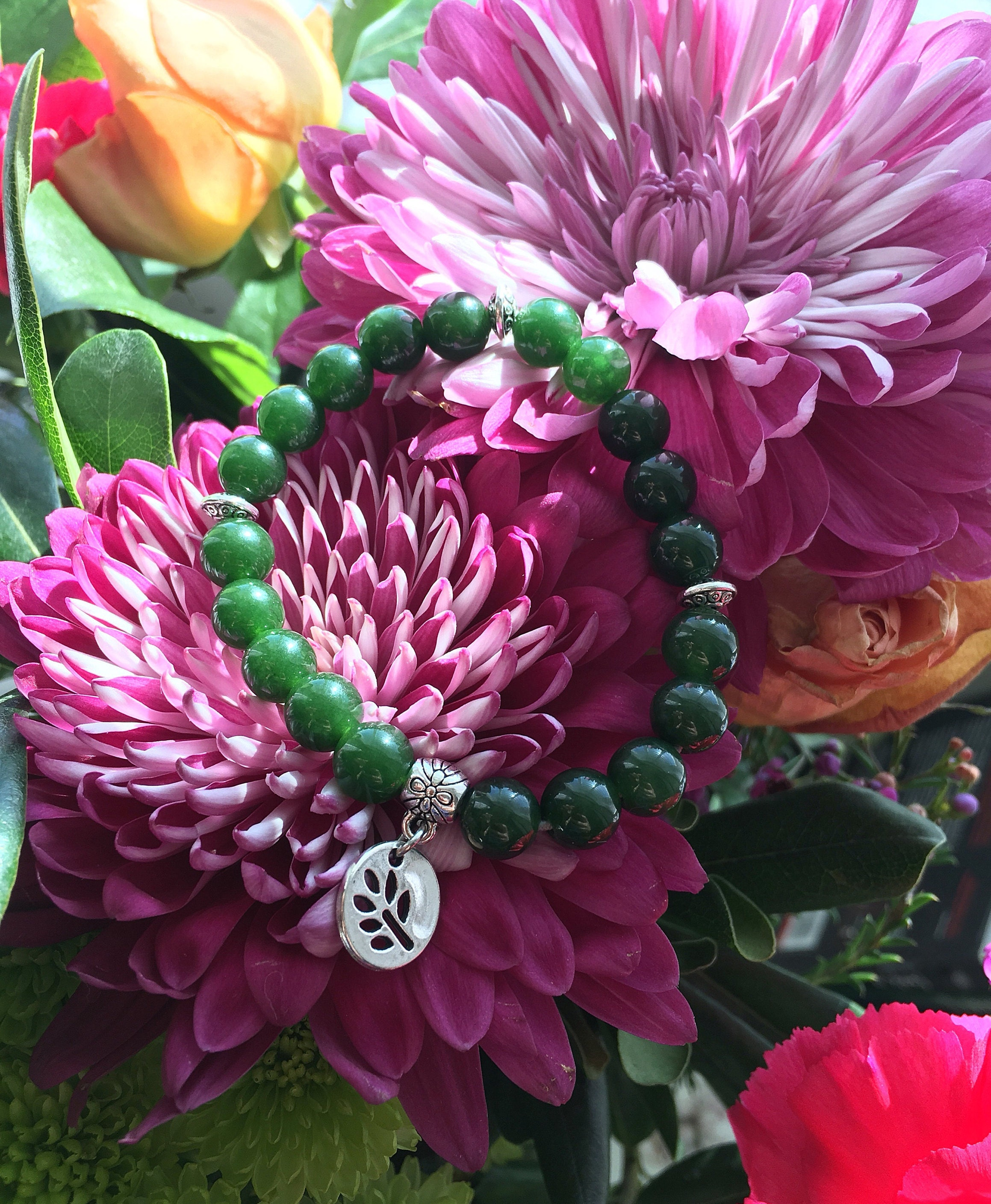 Success Jade Mala Bracelet | Reiki Infused Mala Beads | Luxury Deep