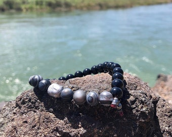 Men's Simplicity Mala Bracelet | Black Onyx | Black Banded Agate | Hematite Buddha | Mani Mantra | Reiki Infused | Peaceful Quiet Calm