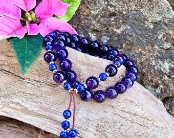 Ascension Double Mala Bracelet | AAA Amethyst | AAA Lapis Lazuli | Mala Beads | Spiritual Expansion | Protection | Focus | Anxiety Relief