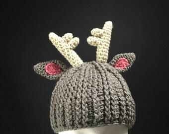 Grey Reindeer Antler Hat for Adults