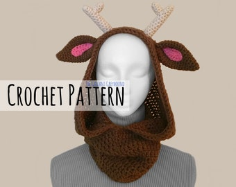Deer Cowl for Adults Crochet Pattern (PATTERN ONLY)